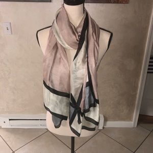 NWOT silky pink black and white scarf